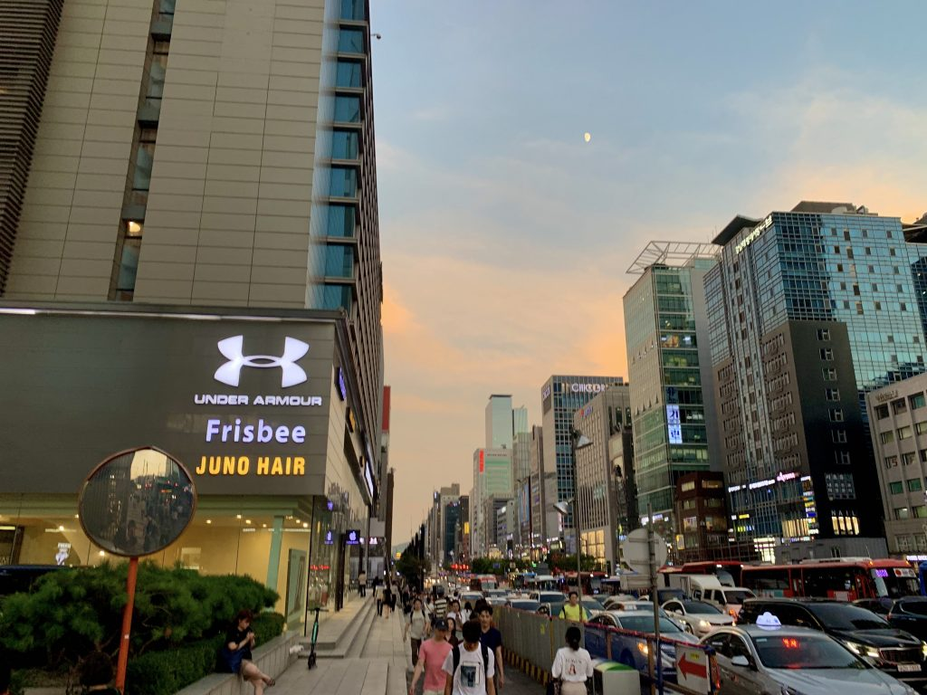 Gangnam Station Shopping Street by Sunset