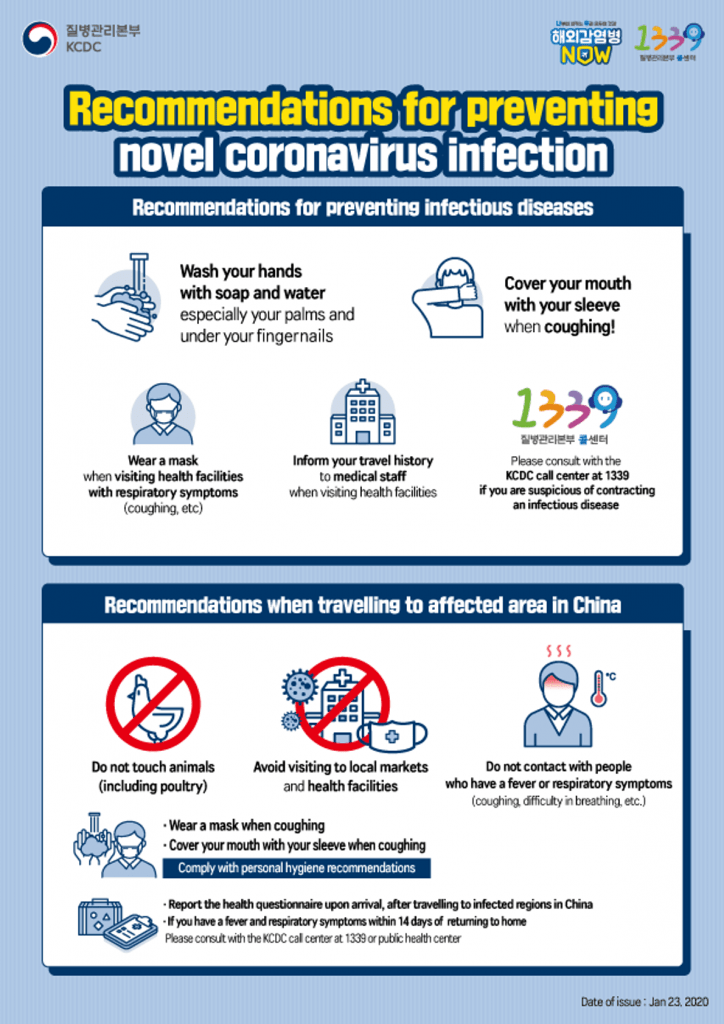South Korea Corona Virus Prevention Guidlines