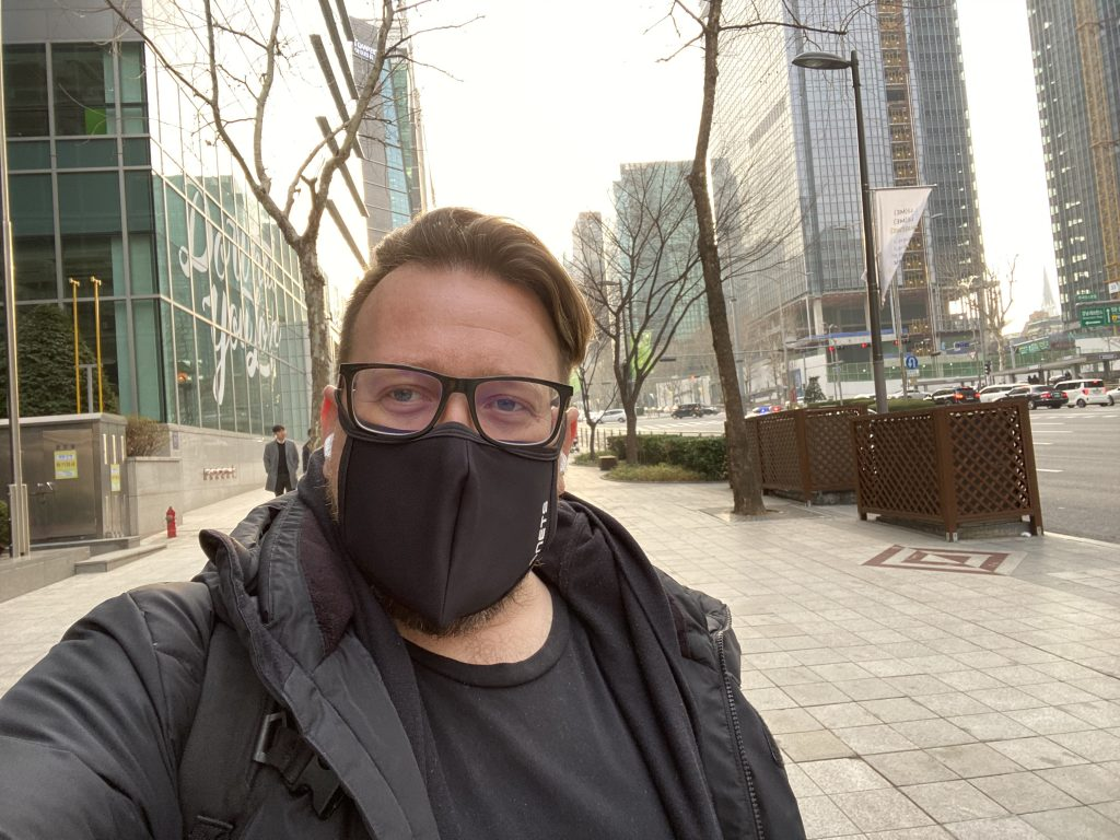 Chris with Mask in Gangnam