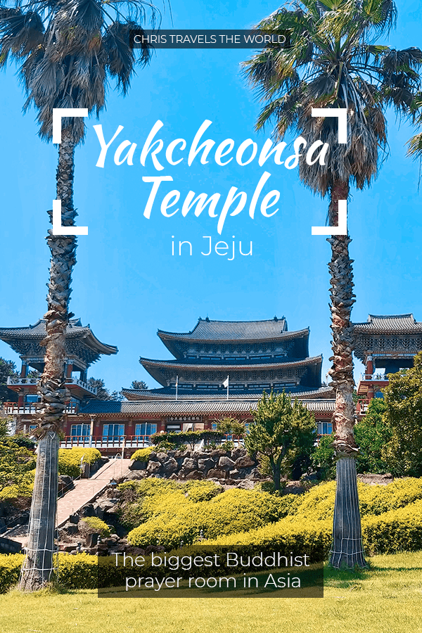 Yakcheonsa Temple was built in 1981 on the relics of a small hermitage called Yaksuam, where monks used to come and pray for health. Nowadays, Yakcheonsa is one of the most well-know landmarks of Jeju Island.