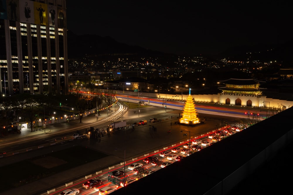 Ornate Pagoda Lanter at Gwanghwamun Square