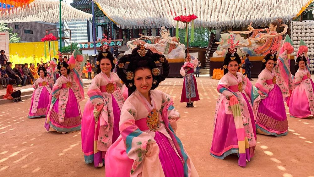 Buddhist Dancers in Jogyesa Temple